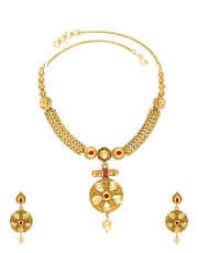 Red Colour Gold Finish Round Shape Necklace Set