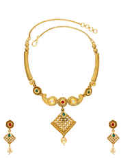 Red Colour Gold Finish Floral Design Necklace