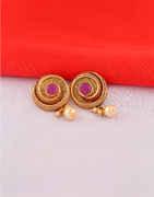Purple Colour Gold Finish Moti Tops