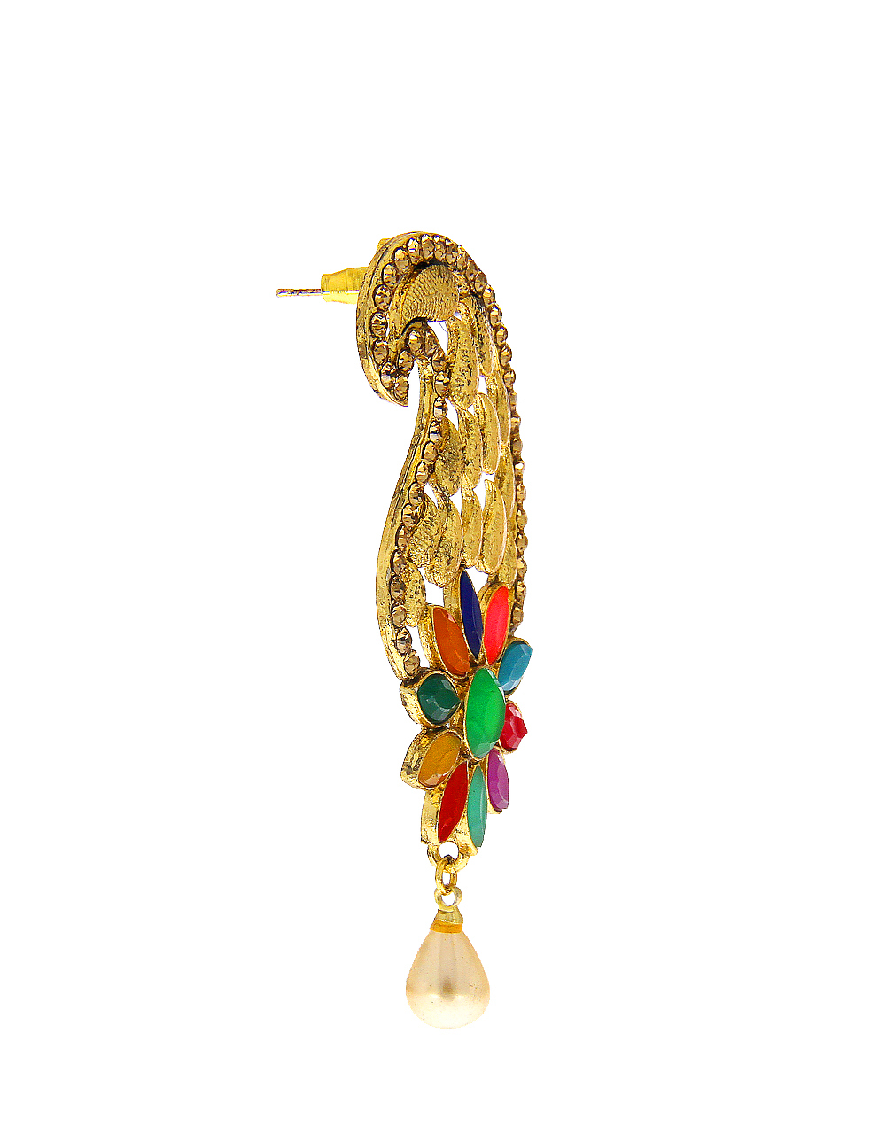 Multi Colour Gold Finish Earrng Jewellery