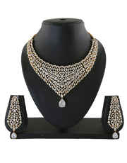 Gold Finish American Diamond Necklace For Wedding