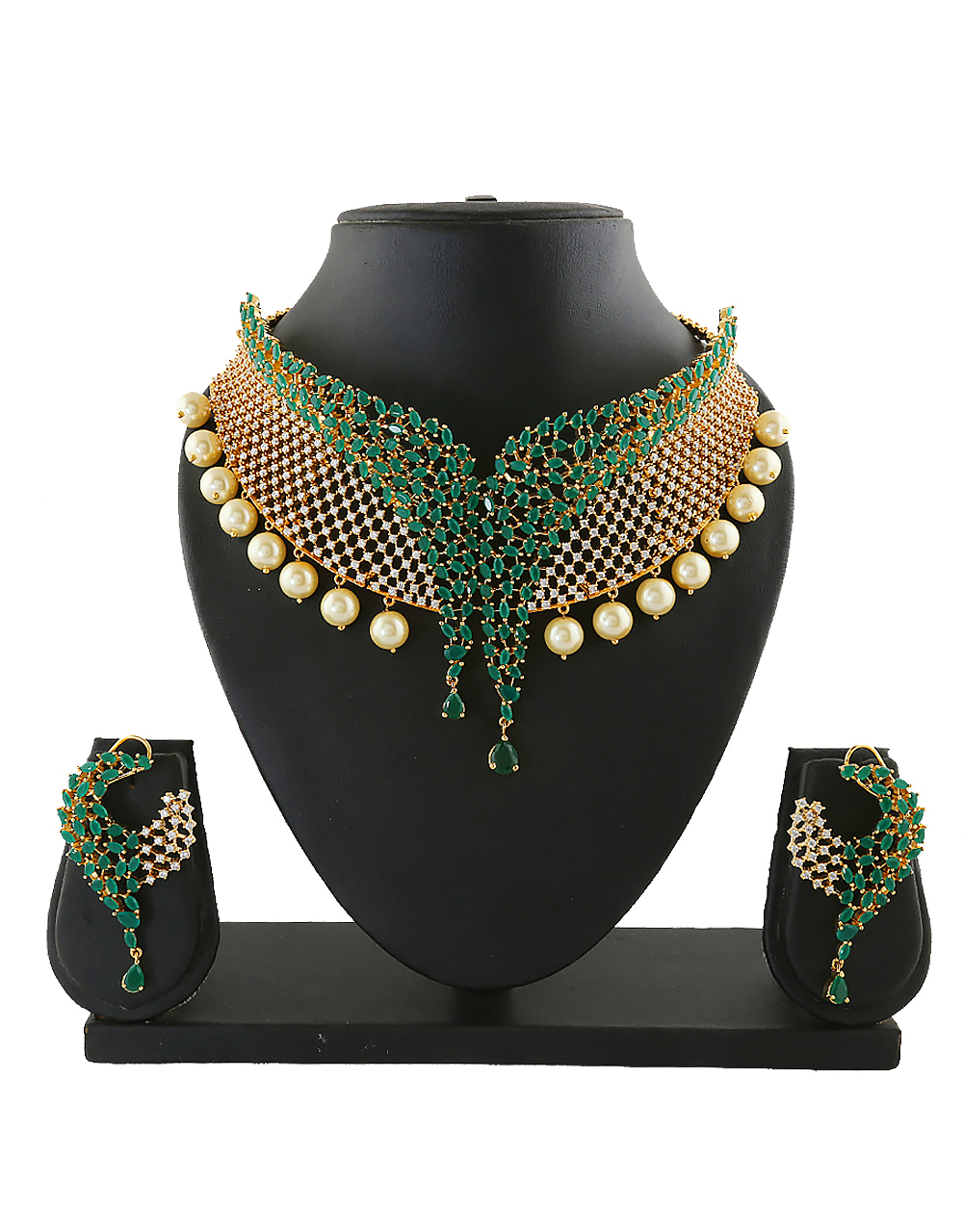 Green Colour Fashionable  Necklace Jewellery For Party Wear
