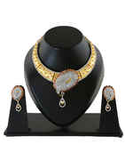 Matte Gold Finish Designer American Diamond Necklace For Wedding