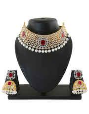 Pink Colour American Diamond Chokar Necklace For Fancy Wear