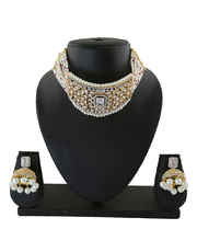 Gold Finish Chokar American Diamond Necklace Styled With Pearls Jewellery