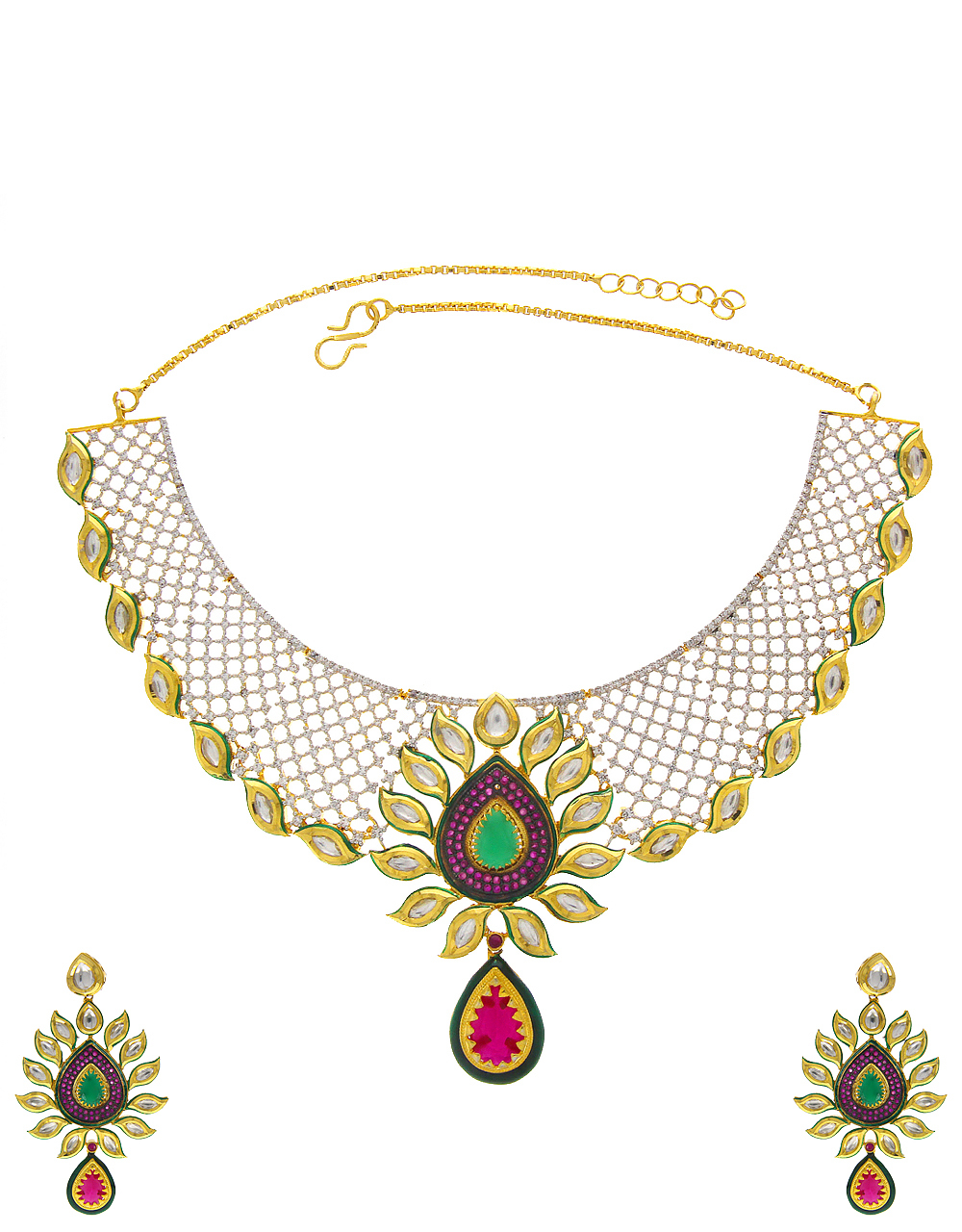 Gold Finish Designer Diamond Kundan Necklace For Women