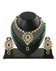 Green Colour American Diamond Kundan Necklace Jewellery