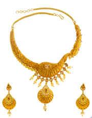Peacock Design Matte Gold Finish Peach Colour Necklace