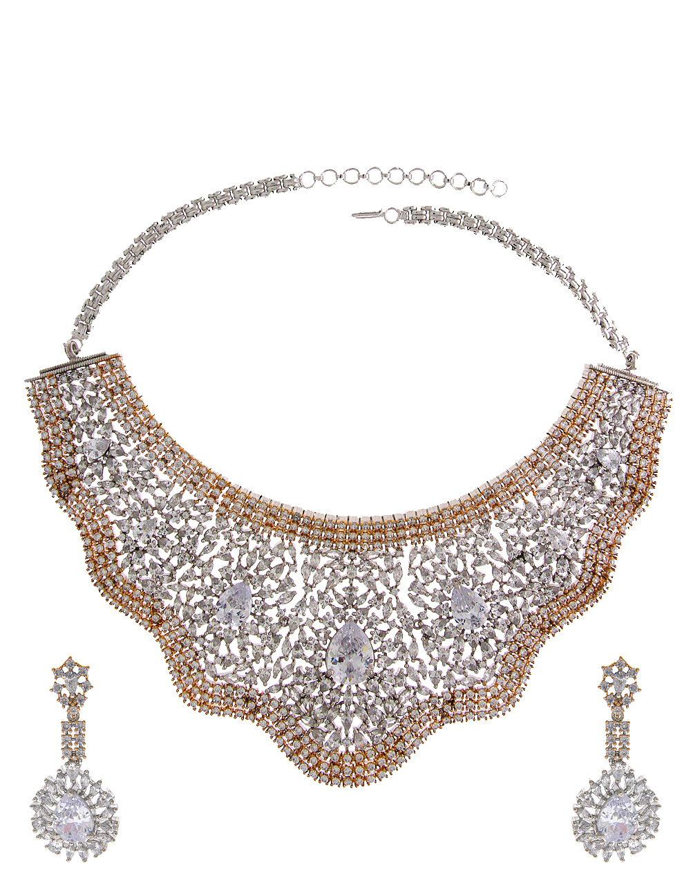 Buy Silver Finish Rose Gold Styled American Diamond Heavy Necklace