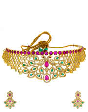 Multi Coour Peacock Design Gold Finish Party Wear Necklace