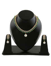 Green Colour Gold Finish Simple Diamond Necklace
