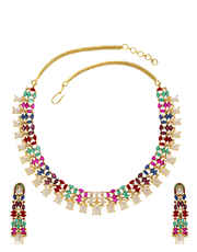 Multi Colour Gold Finish Necklace Styled With Pearls Beads Necklace Jewellery