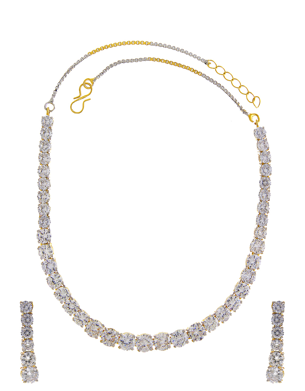 Gold Finish American Diamond Solitaire Necklace Set
