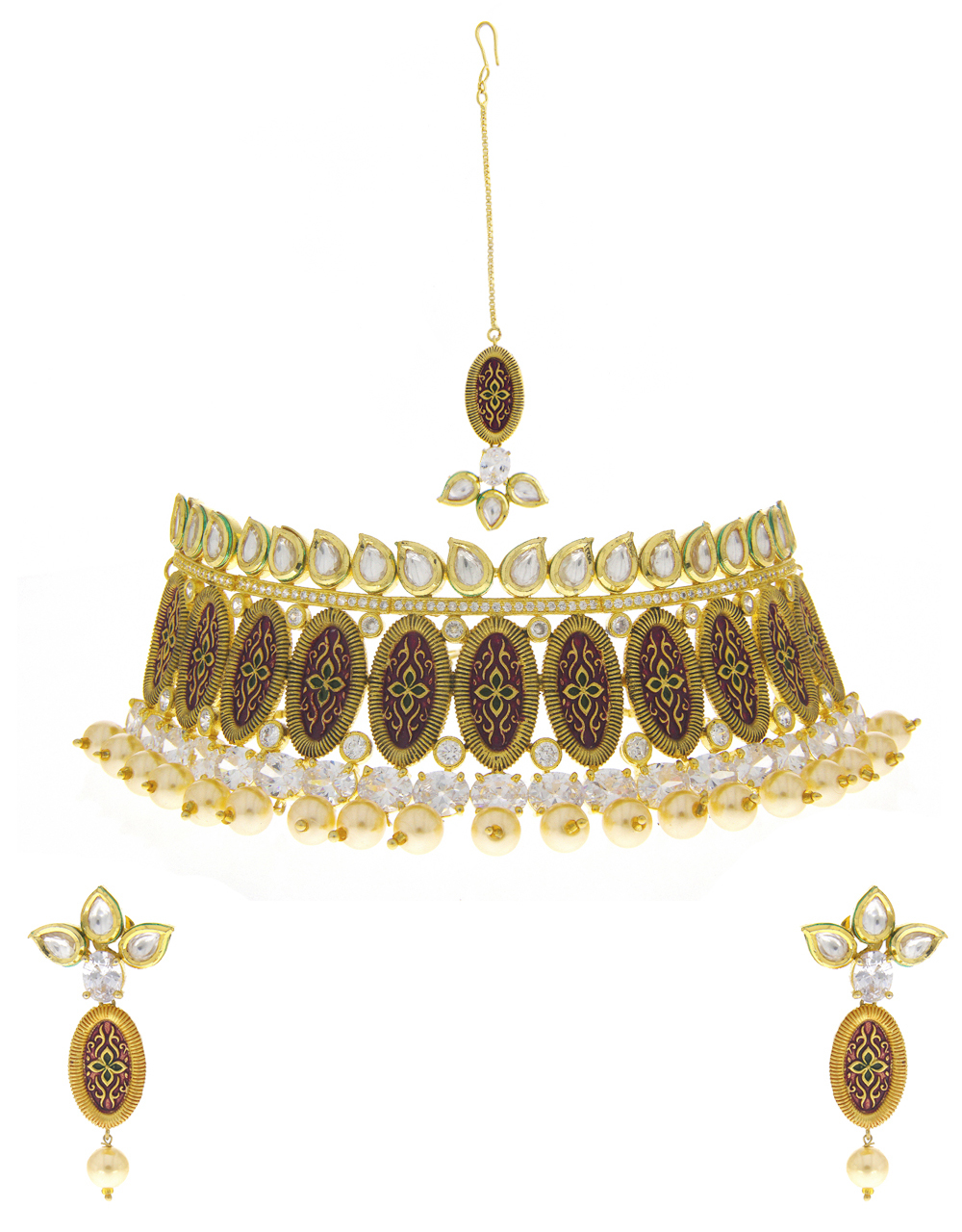 Gold Finish Kundan Necklace Studded With American Diamond Necklace For Wedding