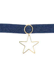 Star Shape Gold Finish Blue Colour Chokar Necklace