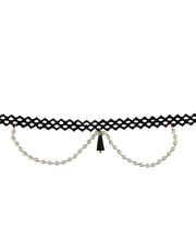 Western Wear Black Colour Chokar Styled With Pearls Fancy Chokar