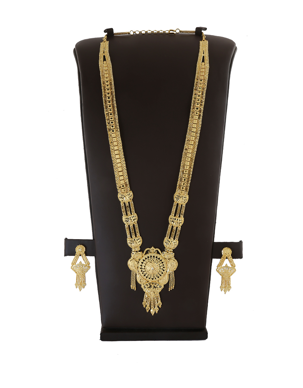 Traditional Gold Finish Floral Design Long Necklace