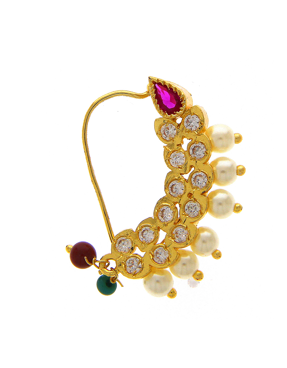 Maharashtrian Nath Studded With Stones And Pearls Beads Nath