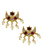 Gold Finish Half Moon Styled Earring Tops