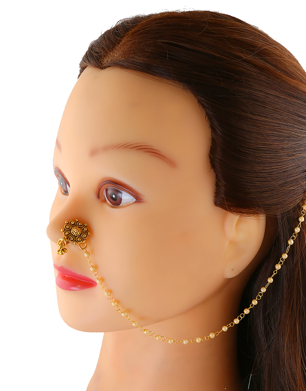 Gold Finish Floral Design Moti Styled Dulhan Nose Ring