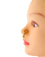 Simple Floral Design Gold Finish Nose Stud