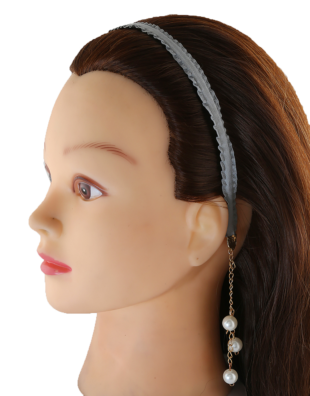 Grey Colour Band Styled With Pearls Beads Hair Band