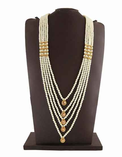 Gold Finish Layered Moti Mala