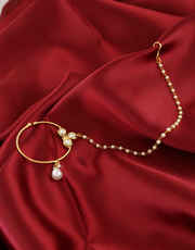 Traditional Nose Ring Styled With Kundan For Bridal