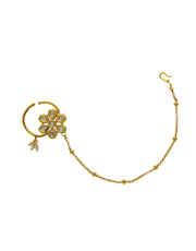 Gold Finish Kundan Styled Wedding Nose Ring
