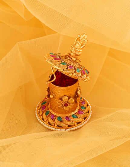 Matte Gold Finish Multi Colour Temple Sindoor Box