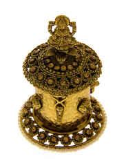 Designer Gold Finish Kumkum Bharani Box