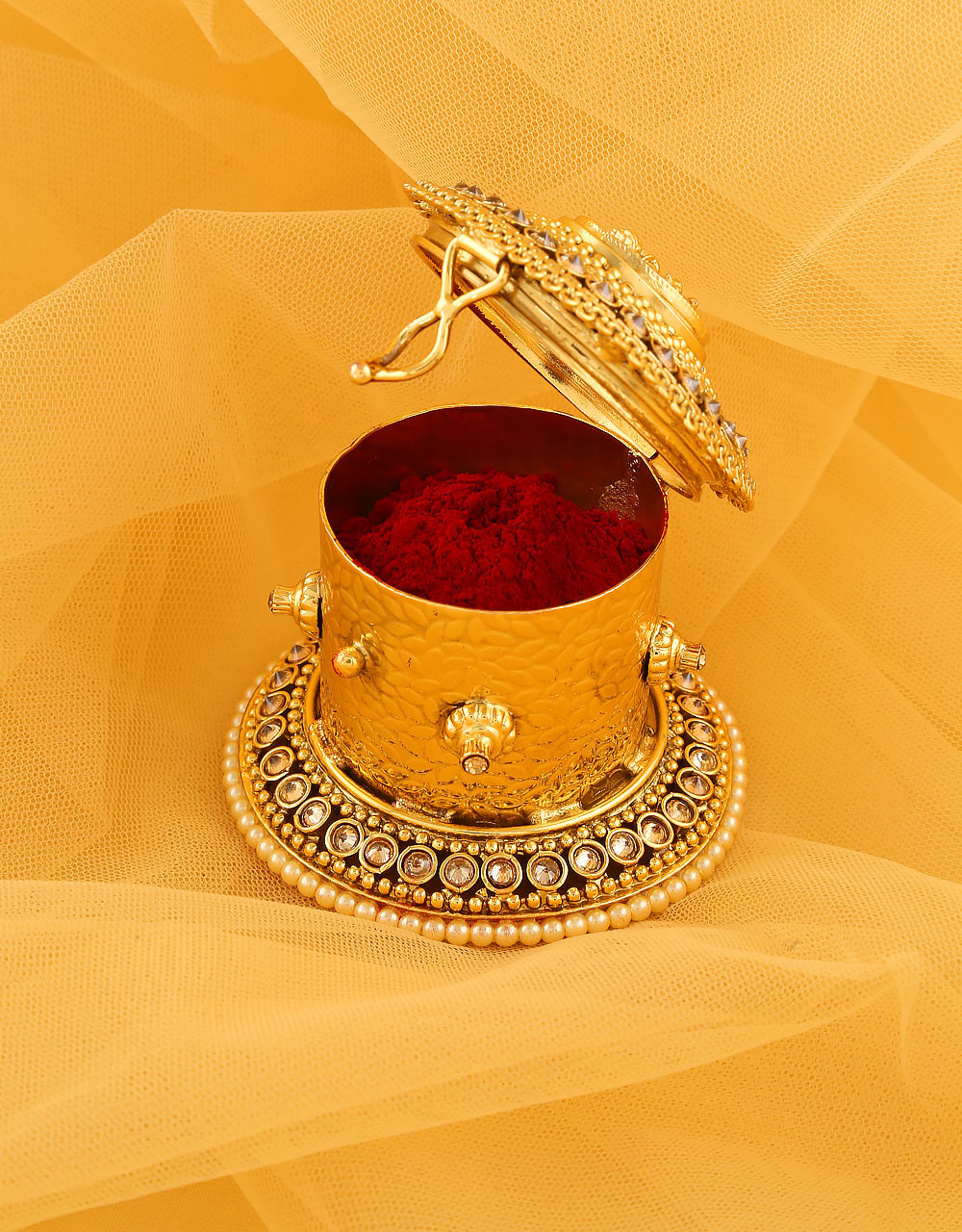 Temple Design Gold Finish Sindoor Dabbi For Girls