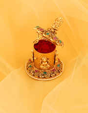 Multi Colour Matte Gold Finish Designer Sindoor Box