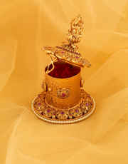 Pink Colour Matte Gold Finish Sindoor Kumkum Bharani Box
