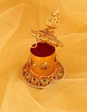 Temple Design Matte Gold Finish Fancy Sindoor Box