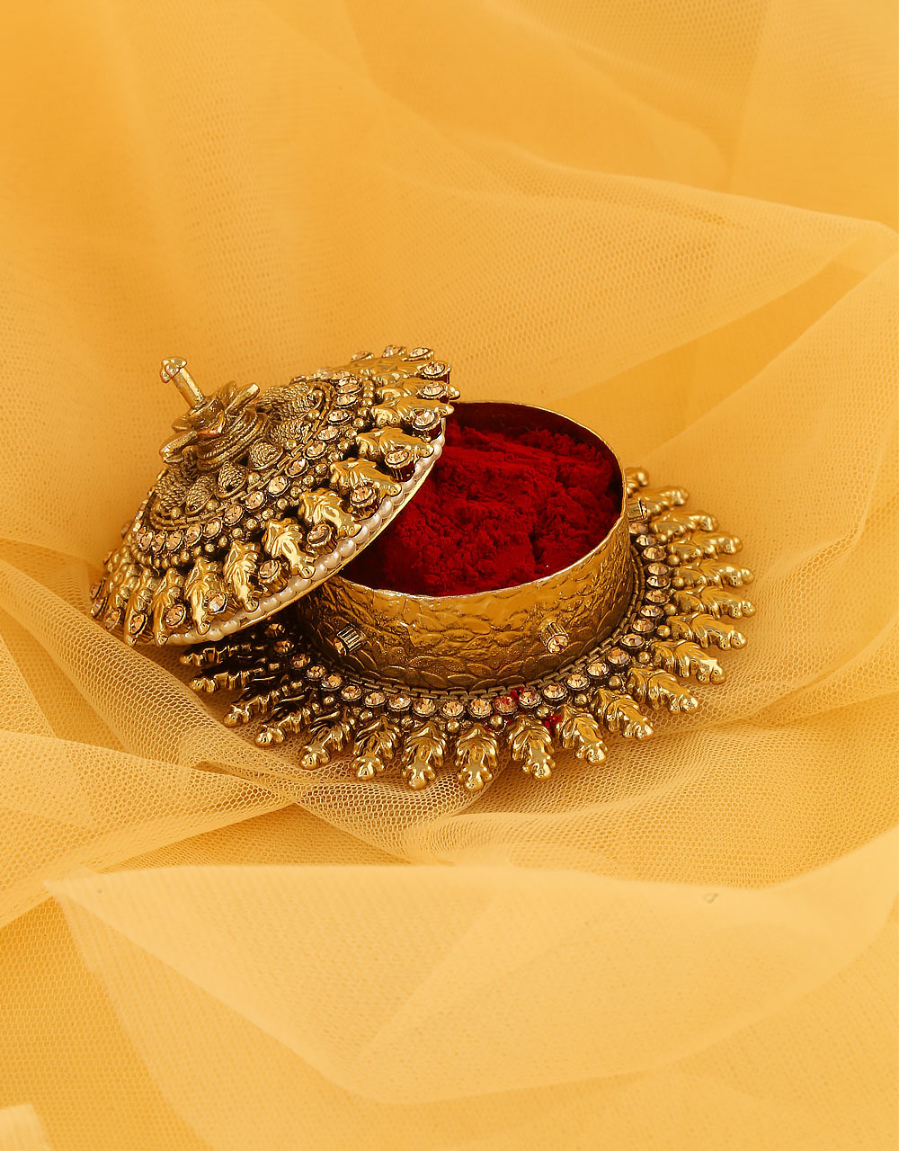 Stylish Antique Gold Finish Floral Sindoor Box