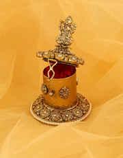 Very Classy Simple Gold Finish Moti Styled Sindoor Box