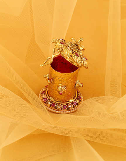 Pink Colour Gold Finish Artificial Sindoor Box