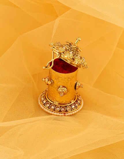Floral Design Gold Finish Sindoor Box