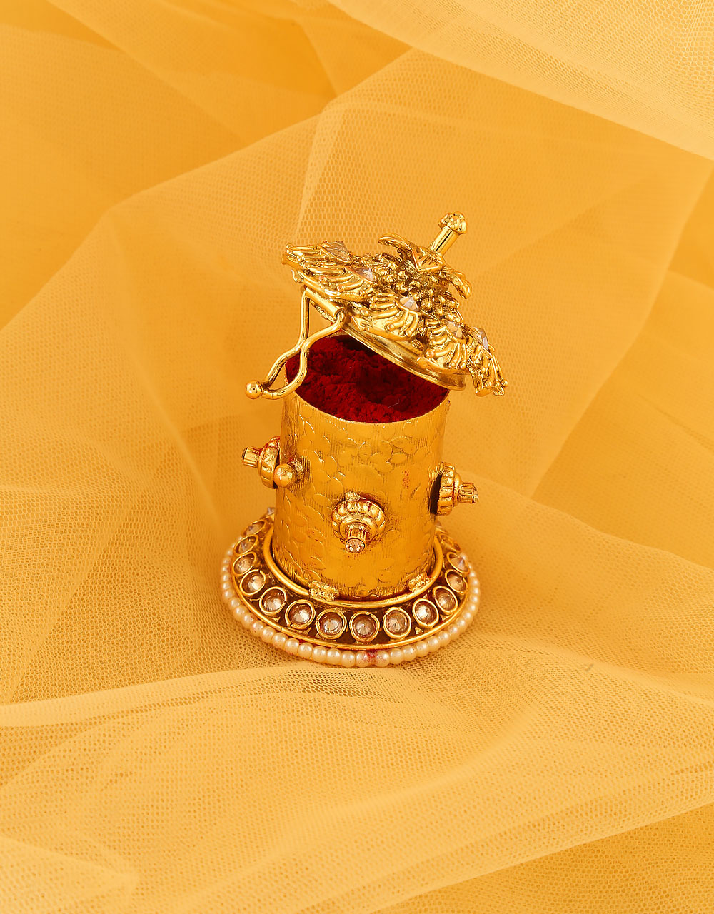Floral Design Gold Finish Sindoor Box