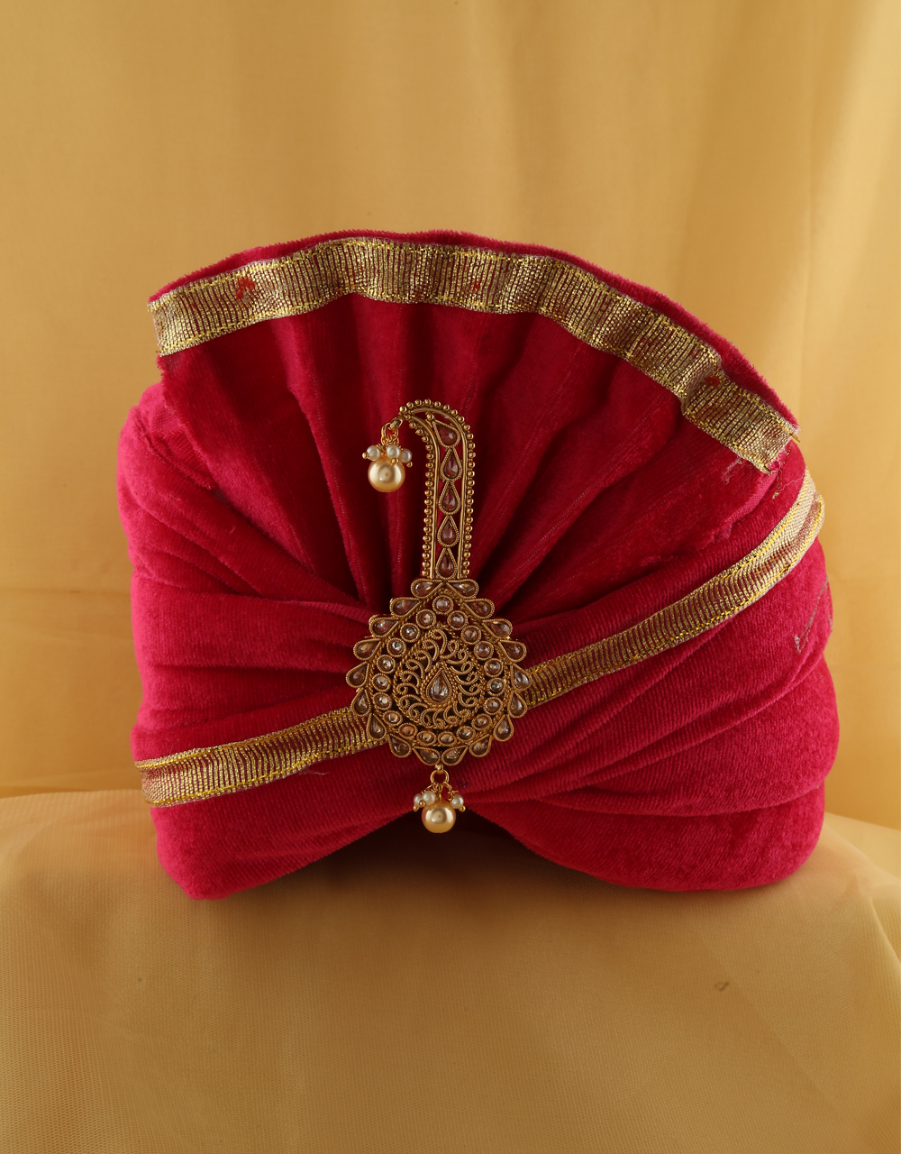 Gold Finish Turban Brooch For Men
