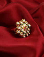 Gold Finish Fashionable Red Colour Kundan Party Wear Finger Ring