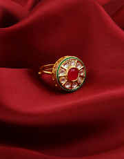 Red Colour Gold Finish Fashionable Wedding Kundan Finger Ring