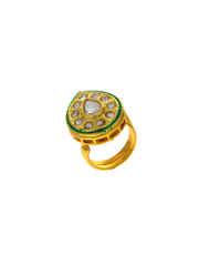 Oval Shape Gold Finish Designer Traditional Finger Ring