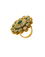 Green Colour Gold Tone Kundan Finger Ring