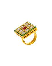 Gold Finish Square Shape Finger Ring Fancy