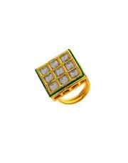 Designer Gold Finish Kundan Fashionable Finger Ring