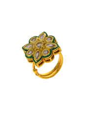 Floral Design Gold Finish Fancy Traditional Finger Ring