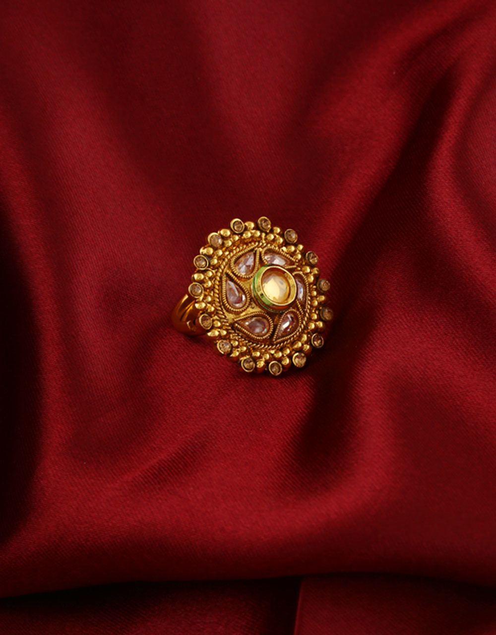Gold Finish Ring Studded With Stones Floral Ring