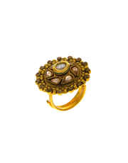 Antique Gold Finish Traditional Finger Ring